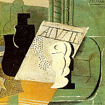 1914 Cartes Е jouer, bouteille, verre, Pablo Picasso (1881-1973) Period of creation: 1908-1918