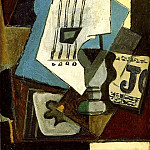Pablo Picasso (1881-1973) Period of creation: 1908-1918 - 1914 Nature morte- Guitare, journal, verre et as de trКfle