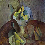 Pablo Picasso (1881-1973) Period of creation: 1908-1918 - 1909 Compotier, Fruit, et Verre. JPG