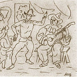 1918 Amour, nu, Arlequin et Pierrot jouant de la guitare, Pablo Picasso (1881-1973) Period of creation: 1908-1918