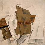 Pablo Picasso (1881-1973) Period of creation: 1908-1918 - 1914 Pipe, verre et bouteille de Rhum