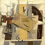 1913 Bouteille de Bass, clarinette, guitare, violon, journal, as de trКfle [Le violon], Pablo Picasso (1881-1973) Period of creation: 1908-1918