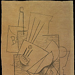 1913 Bouteille de Bass, guitare, journal et verre sur une table carrВe, Pablo Picasso (1881-1973) Period of creation: 1908-1918