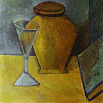 1908 Verre, pot et livre, Pablo Picasso (1881-1973) Period of creation: 1908-1918