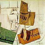 1914 Verre, bouteille de vin, paquet de tabac, journal, Pablo Picasso (1881-1973) Period of creation: 1908-1918