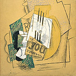 Pablo Picasso (1881-1973) Period of creation: 1908-1918 - 1914 La bouteille de Bass [Journal]