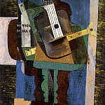Pablo Picasso (1881-1973) Period of creation: 1908-1918 - 1916 Guitare, clarinette et bouteille sur une table