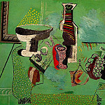 Pablo Picasso (1881-1973) Period of creation: 1908-1918 - 1914 Compotier, verre, bouteille, fruits (Nature morte verte)