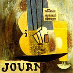 1912 Violon, partition et journal, Pablo Picasso (1881-1973) Period of creation: 1908-1918