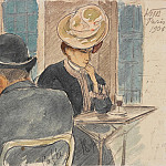 Cafe Scene in Paris, Kuzma Sergeevich Petrov-Vodkin