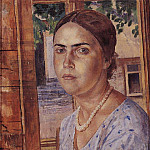 Kuzma Sergeevich Petrov-Vodkin - Girl at the window. 1928