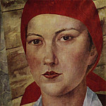 Kuzma Sergeevich Petrov-Vodkin - Girl in red scarf (worker). 1925