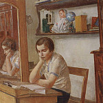 girl at the desk. 1934, Kuzma Sergeevich Petrov-Vodkin