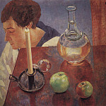 Still Life. A candle and a decanter. 1918, Kuzma Sergeevich Petrov-Vodkin