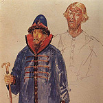 costumes and make-up to the tragedy of Pushkins Boris Godunov. 1923, Kuzma Sergeevich Petrov-Vodkin