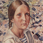 Girl on the beach. 1925, Kuzma Sergeevich Petrov-Vodkin