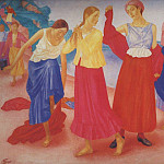 900 Classic russian paintings - Girls on the Volga. 1915