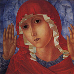 Virgin of Tenderness evil hearts. 1914-1915, Kuzma Sergeevich Petrov-Vodkin