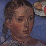 Portrait of the daughter against the background of still life. 1930, Kuzma Sergeevich Petrov-Vodkin