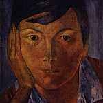 Kuzma Sergeevich Petrov-Vodkin - yellow face (female face). 1921