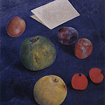 Fruit on a blue tablecloth. 1921, Kuzma Sergeevich Petrov-Vodkin