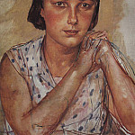 Kuzma Sergeevich Petrov-Vodkin - Portrait of the artists daughter. 1935