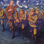 900 Classic russian paintings - On the line of fire. 1916