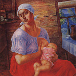 Mother. 1915, Kuzma Sergeevich Petrov-Vodkin
