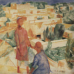 Boys on the background of the city. 1921, Kuzma Sergeevich Petrov-Vodkin
