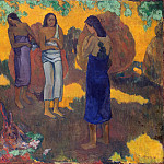 Three Tahitian on a yellow background, Paul Gauguin
