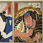 part 04 Hermitage - Gosotey Hirosada - Page Winter. Diptych Actors Natamura Utaemon IV and Nakayama Nancy III