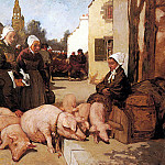 French artists - Cottet Charles Selling Livestock