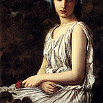 French artists - Bellanger Georges A Young Woman In Classical Dress Holding A Red Dress