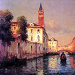 French artists - Bouvard Noel Gondolas On A Venetian Canal