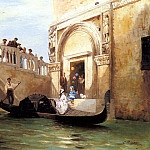 French artists - Mouchot Louis Claude Le Depart Pour La Promenade A Venise