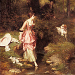 French artists - Metzmacher Emile Pierre A young Beauty Crossing A Brook With A Hunter Beyond