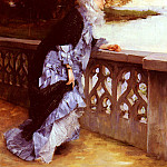 French artists - Delance Paul - Louis Elegante Accoudee A Une Balustrade