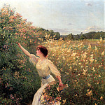 Brouillet Pierre Andre Picking Flowers, French artists