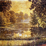 French artists - Biva Henri A Wooded River Landscape