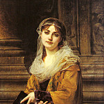 French artists - Muller Charles Louis A Young Woman Outside A Church