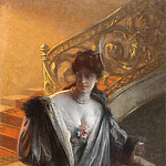 French artists - Rosset-Granger Paul Edouard lady on staircaes