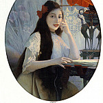 French artists - A Portrait of Young Girl
