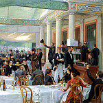 French artists - Rixens Jean Andre DEJEUNER DU SALON, AU CAFE LA CASCADE
