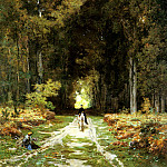 French artists - Laurens Jules Joseph Augustin Equestrienne On A Woodland Lane