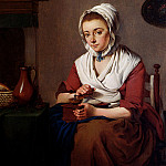 French artists - Lauwers Jacobus Jahannes A Maid Grinding Coffee