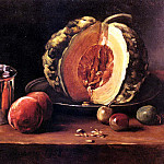 French artists - Bonvin Francois Still Life With A Pumpkin Peaches And A Si
