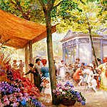 French artists - Deully Eugene Auguste Francois La Marche Aux Fleurs