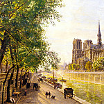 French artists - Gerard Marie Francois Firmin L lle De La Cite And The Cathedral Of Notre Dame