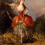 French artists - Schall Jean Frederic Lady Dancing With A Garland