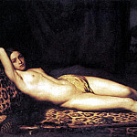 French artists - TRUTAT Felix Nude Girl On A Panther Skin